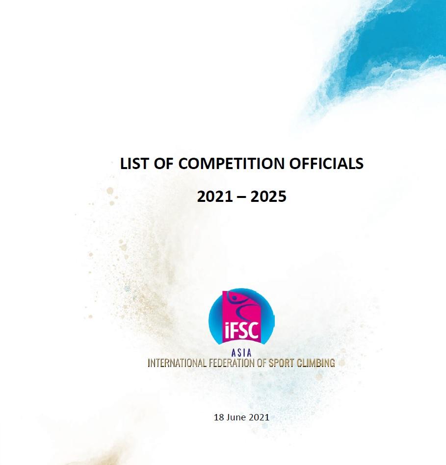 亞洲攀登聯會(IFSC Asian Council) 2021-2025年賽事工作人員名單